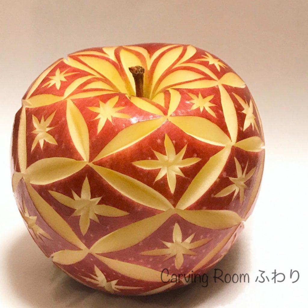 江戸切子風のリンゴカービング、アップルカービング