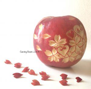 アップルカービング りんごカービングで桜をカービング