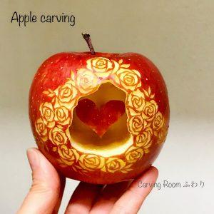 リンゴカービング りんごの中に❤を忍ばせてフルーツカービング