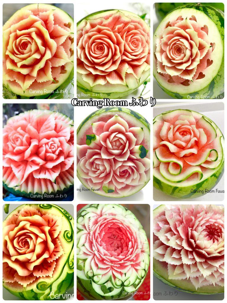 オーダーフルーツカービング。薔薇をカービングするデザインです。注文。販売。華やかにスイカでお祝いしましょう。