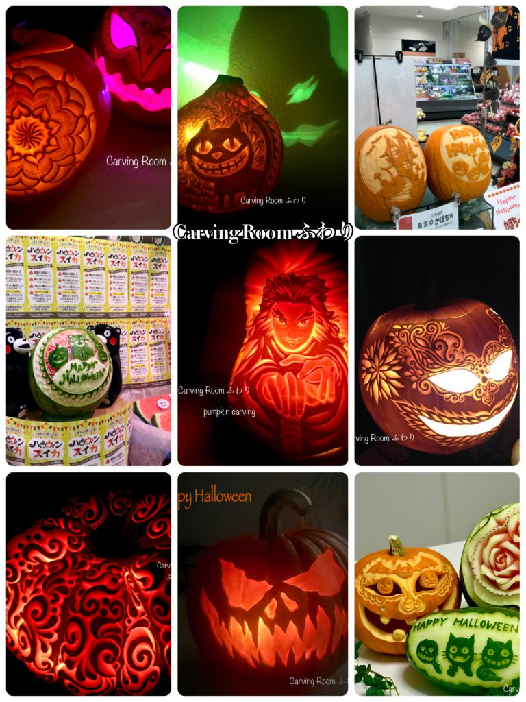 ハロウィンは大きなパンプキンカービングが人気です。かぼちゃの中をくり抜いてランタンにするのもきれいです。
